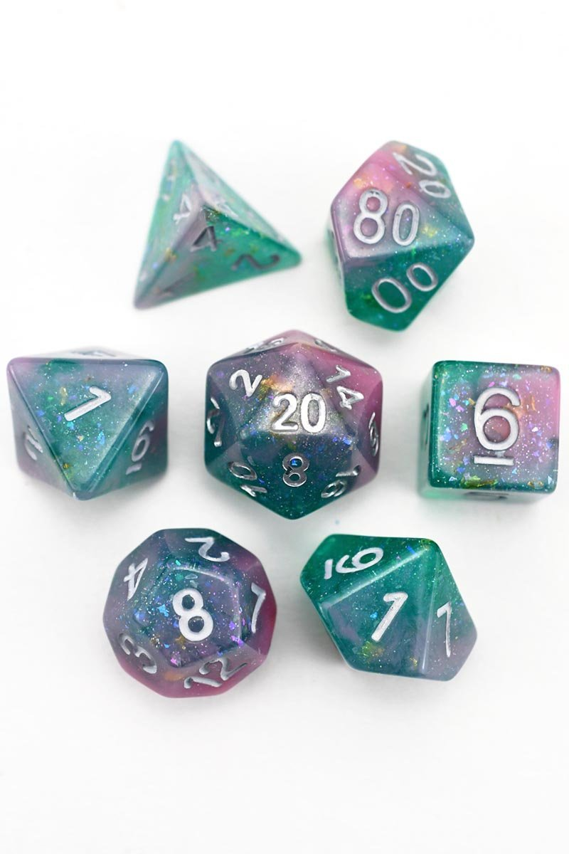 Dragon Turtle - Gold and Holographic Flake Acrylic Dice Set - GAMETEEUK