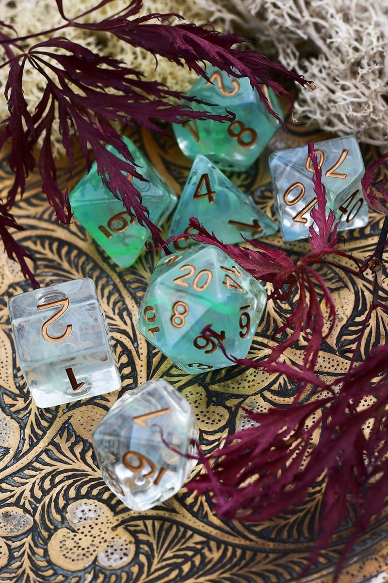 Elfglass - Smoke-Silk Acrylic Dice Set - GAMETEEUK