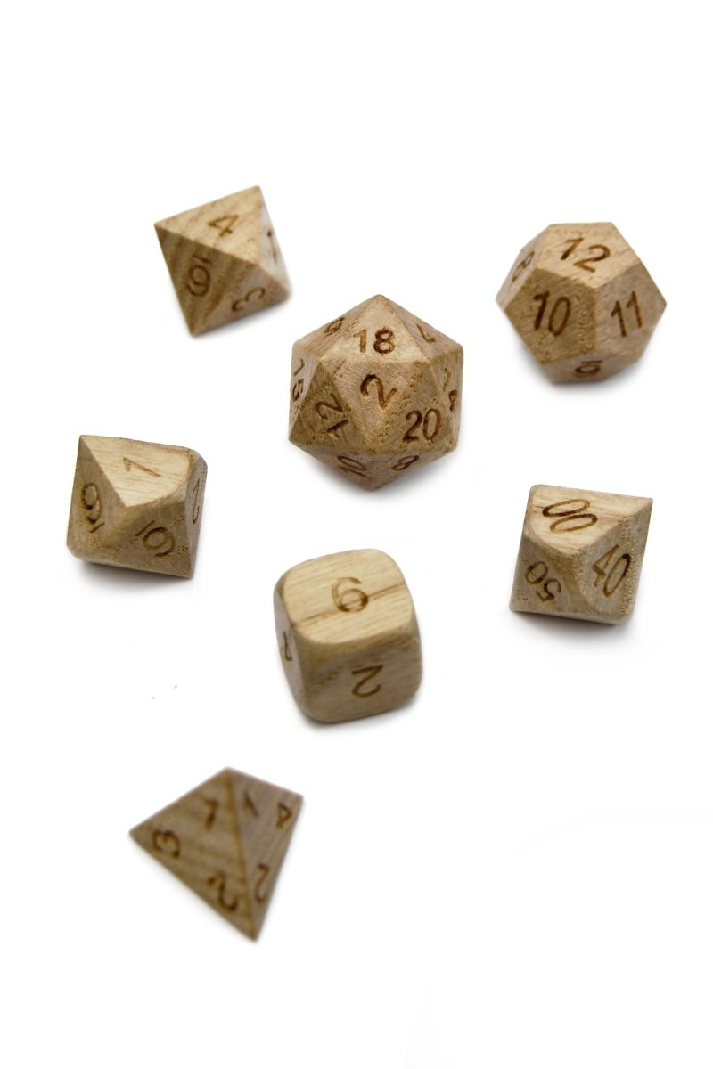 English Oak Wooden Dice Set - GAMETEEUK