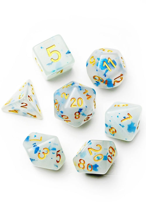 Ethereal - Semi-Translucent Acrylic Dice Set - GAMETEEUK