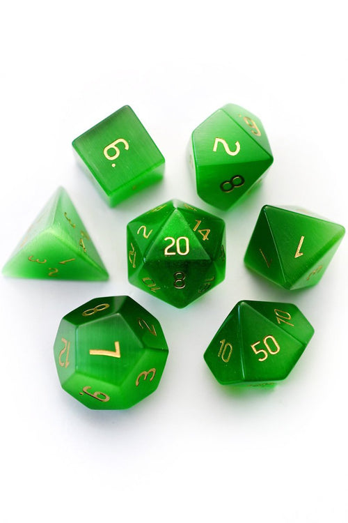 Everglade Green Cat's Eye - Gemstone Dice Set - GAMETEEUK