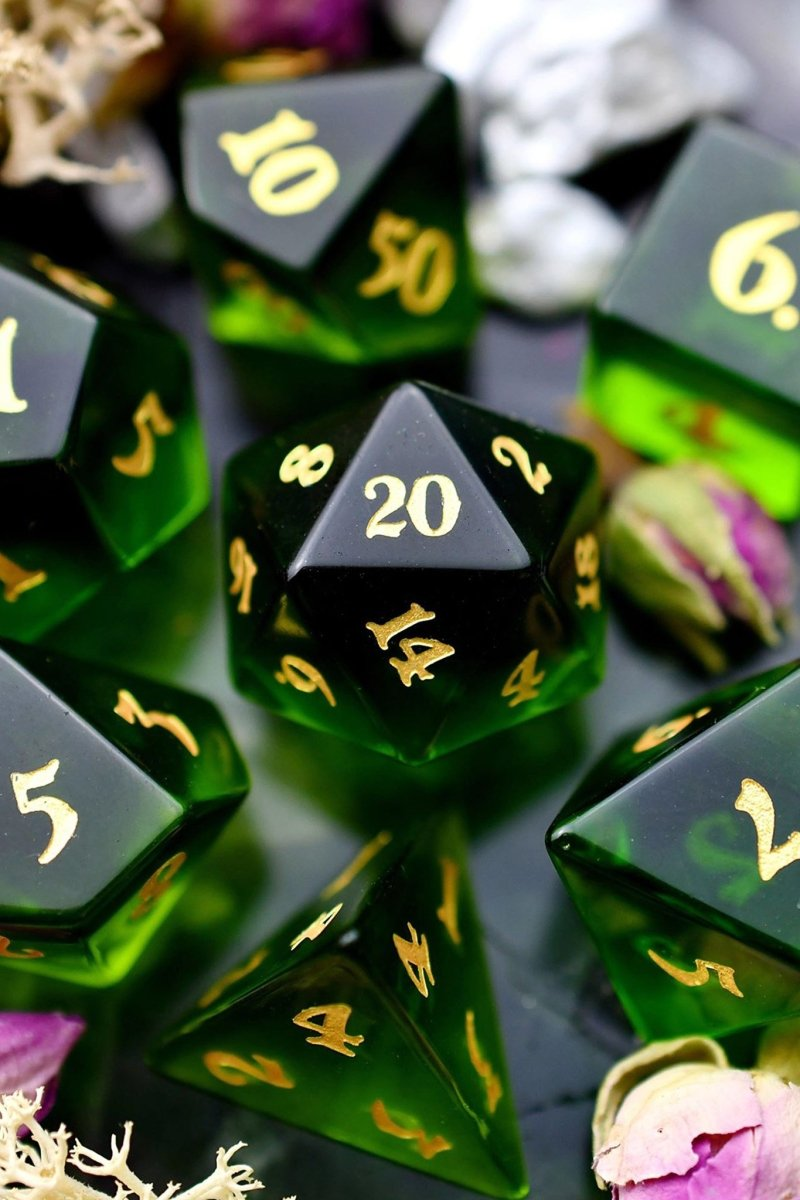Fine Green Zircon - Gemstone Dice Set - GAMETEEUK
