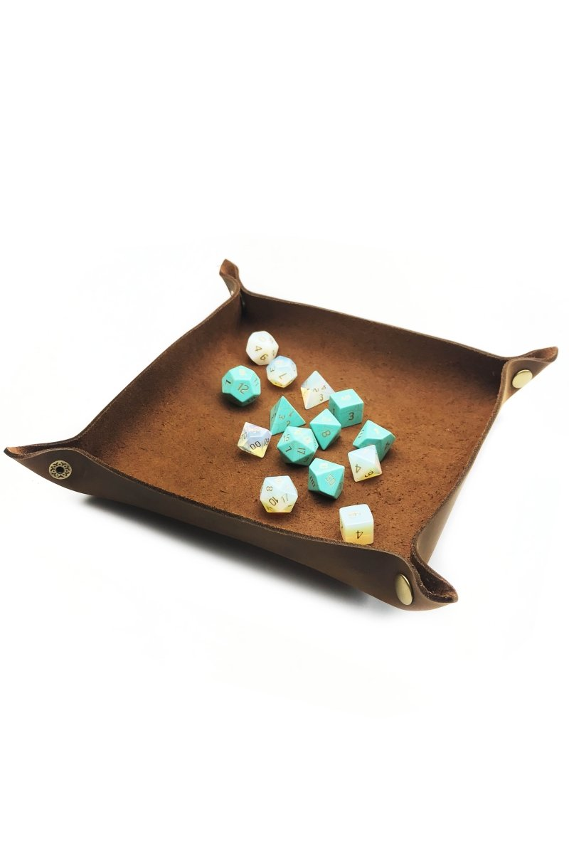 Fine Leather Dice Tray - Heritage Brown - GAMETEEUK