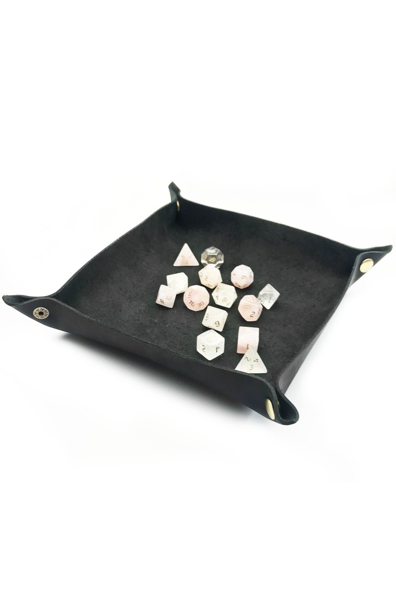 Fine Leather Dice Tray - Midnight Black - GAMETEEUK