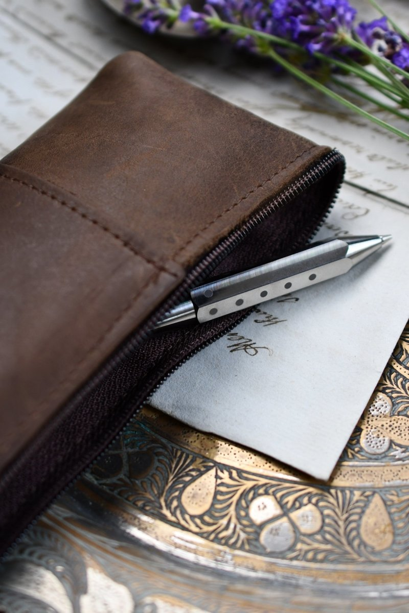 Fine Leather Pencil Case - Heritage Brown - GAMETEEUK