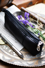 Fine Leather Pencil Case - Midnight Black - GAMETEEUK