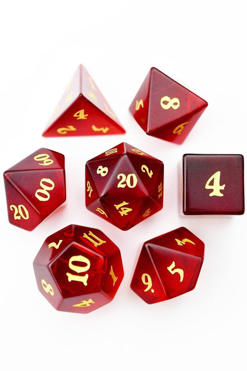 Fine Ruby Zircon - Gemstone Dice Set - GAMETEEUK