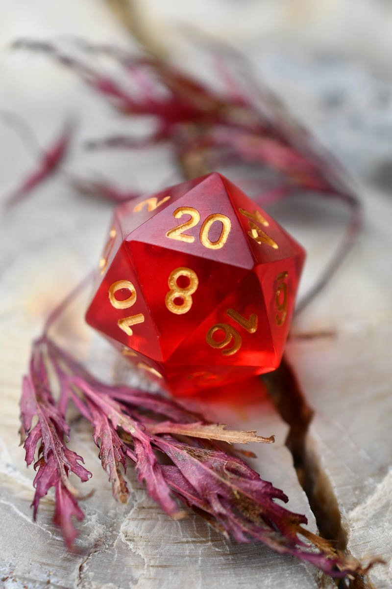 Fire Shard - Sharp-Edged Resin Dice Set - GAMETEEUK