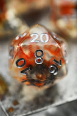 Glowing Embers with Real Moss - Acrylic Dice Set - GAMETEEUK