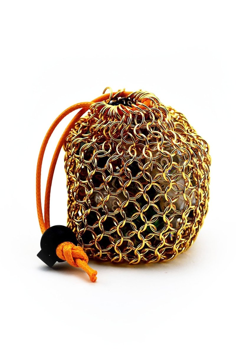 Golden Chainmail Dice Bag - GAMETEEUK
