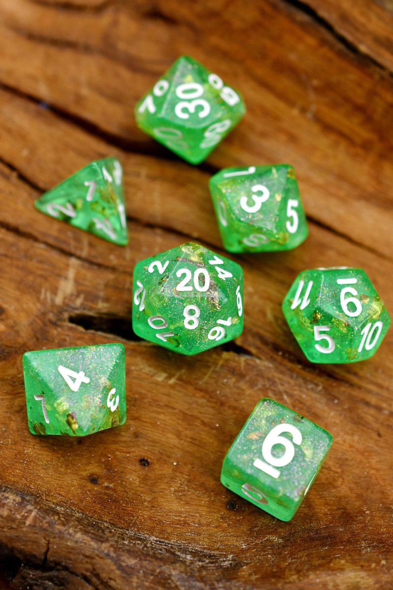 Great Green Dragon - 24k Gold Flake Acrylic Dice Set - GAMETEEUK