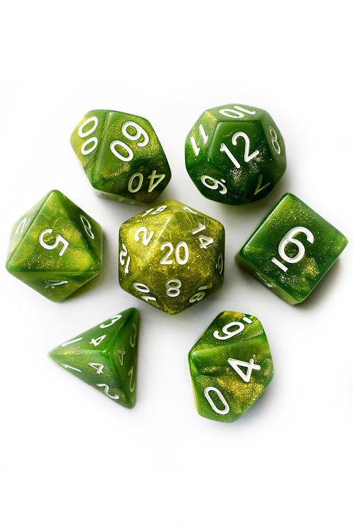 Herbology - Gold-Dust Acrylic Dice Set - GAMETEEUK