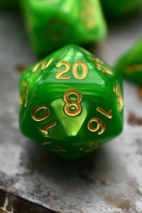Incantation - Emerald Lustre-Sheen Acrylic Dice Set - GAMETEEUK
