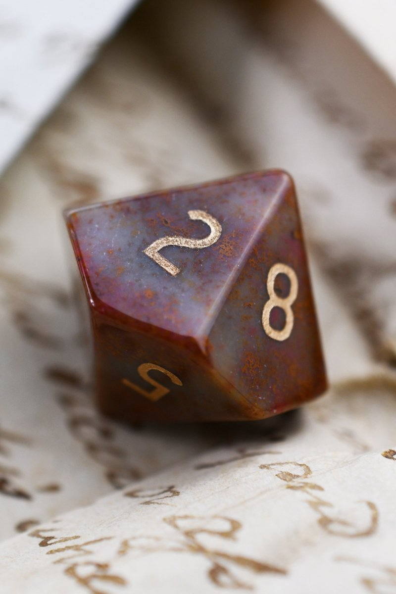 Indian Agate Gemstone Dice Set - GAMETEEUK