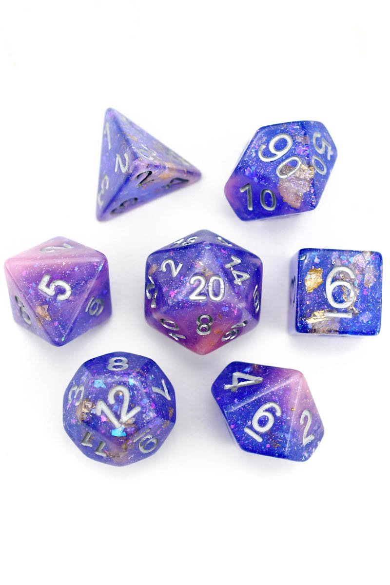 Interstellar Tides - Gold and Holographic Flake Acrylic Dice Set - GAMETEEUK