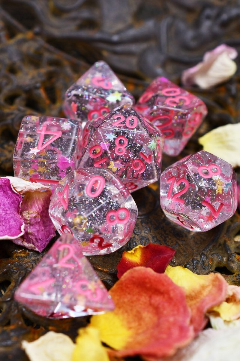 Kaleidoscope Star Shine - Acrylic Dice Set - GAMETEEUK
