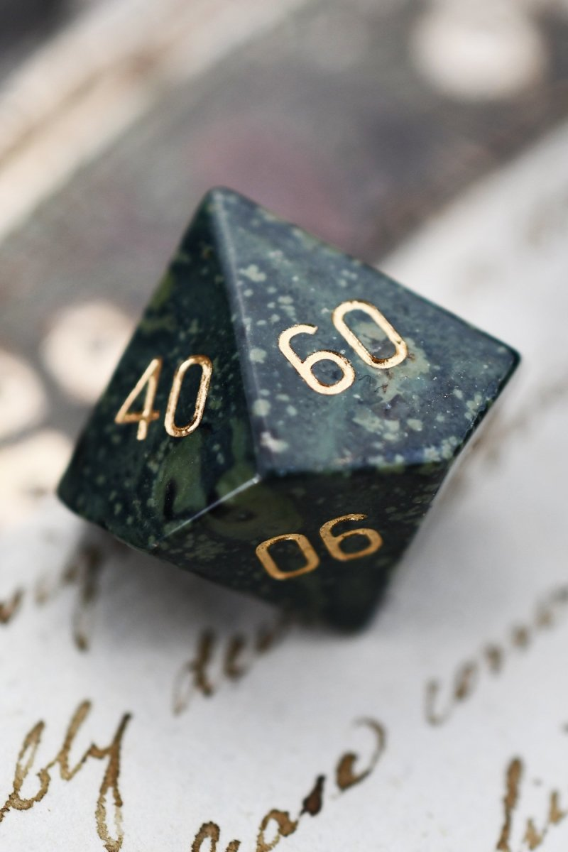 Kambaba Jasper Gemstone Dice Set - GAMETEEUK