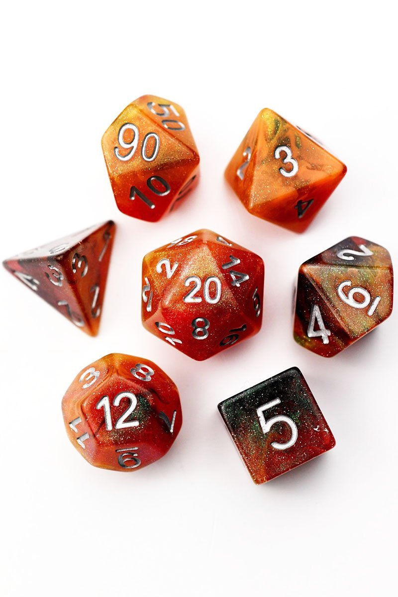 Lava Flow - Acrylic Dice Set - GAMETEEUK