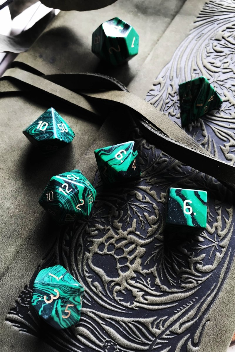 Malachite Gemstone Dice Set - GAMETEEUK