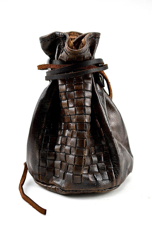 Merchant's Woven Leather Large Coin and Dice Pouch - GAMETEEUK