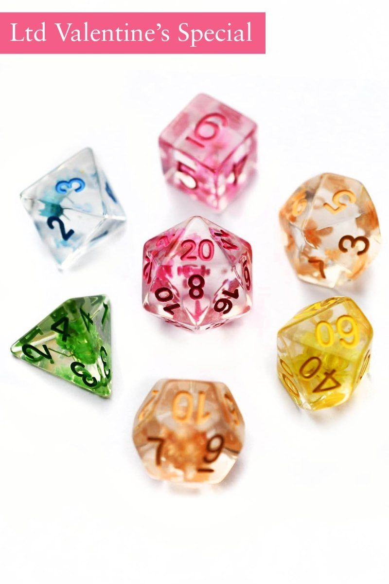 Mixed Bouquet Real Flowers - Valentine's Day Special - Acrylic Dice Set - GAMETEEUK