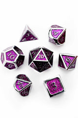 Monarch Purple Shimmer Metal Dice Set - GAMETEEUK