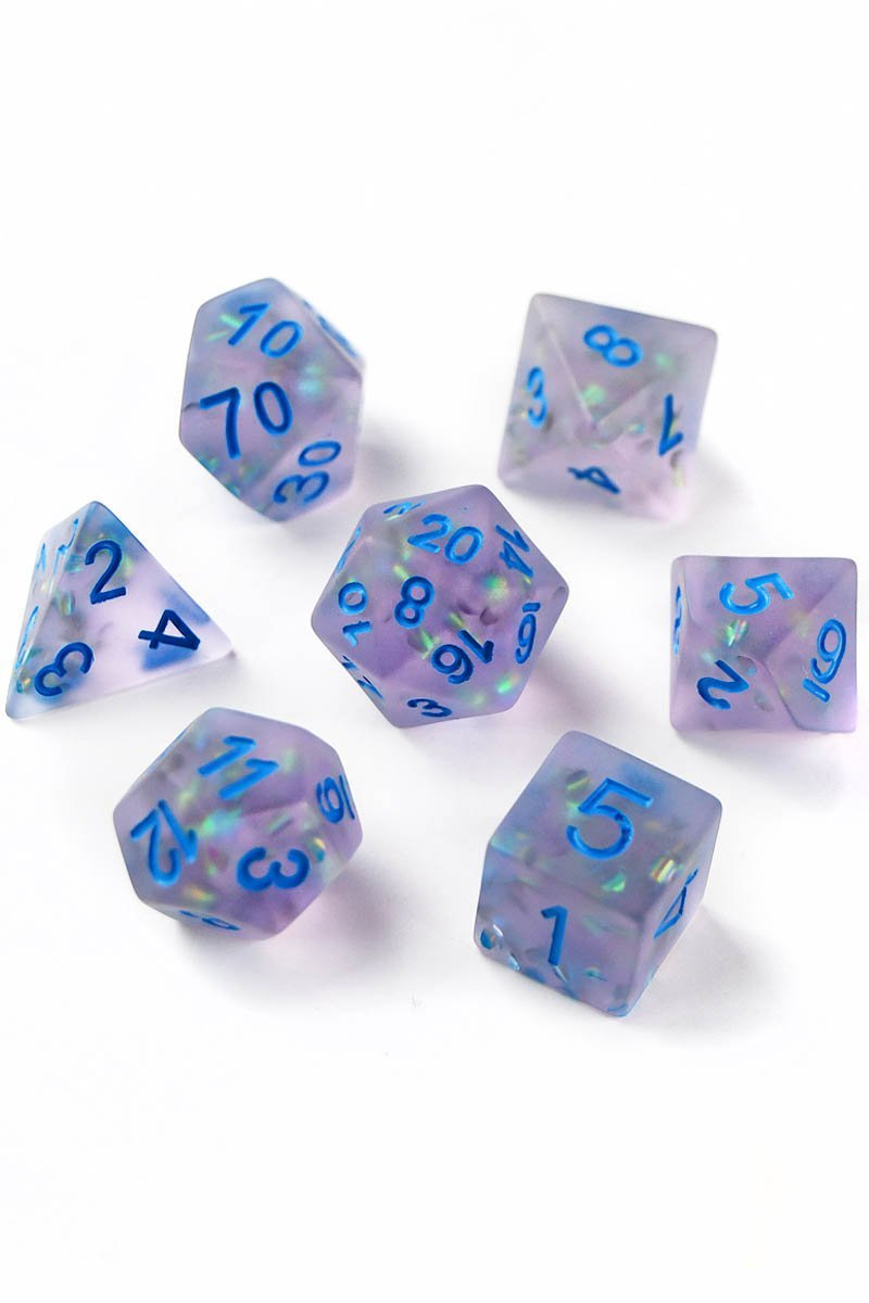 Moorland Mist - Violet Matte Frosted Acrylic Dice Set - GAMETEEUK