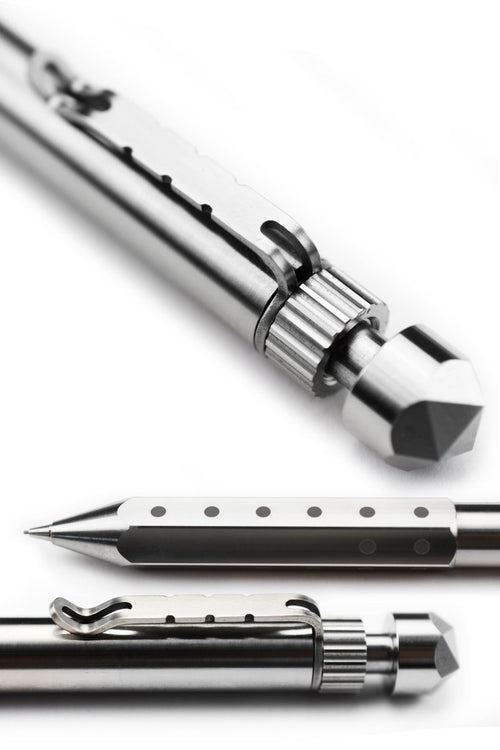 Noble Traveller - Polished Titanium Mechanical Dice Pencil - GAMETEEUK