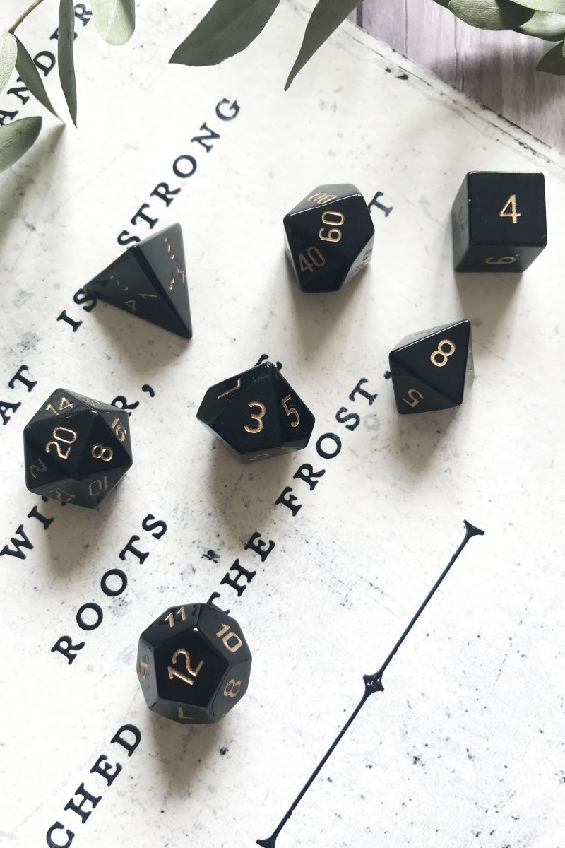 Obsidian Dragon Glass Gemstone Dice Set - GAMETEEUK