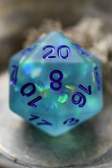Permafrost - Aqua Matte Frosted Acrylic Dice Set - GAMETEEUK