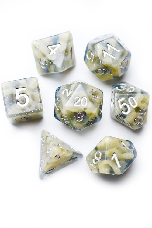 Precipitation - Cloudy Acrylic Dice Set - GAMETEEUK