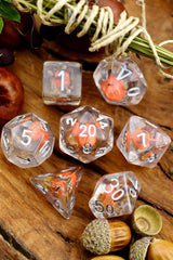 Pumpkin Patch - Real Flowers Acrylic Dice Set - GAMETEEUK