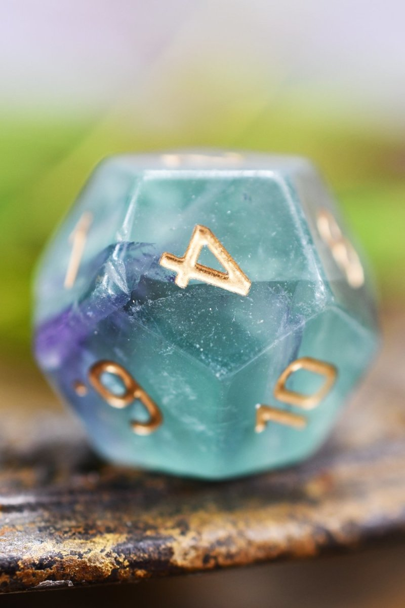 Purple Fluorite Gemstone Dice Set - GAMETEEUK