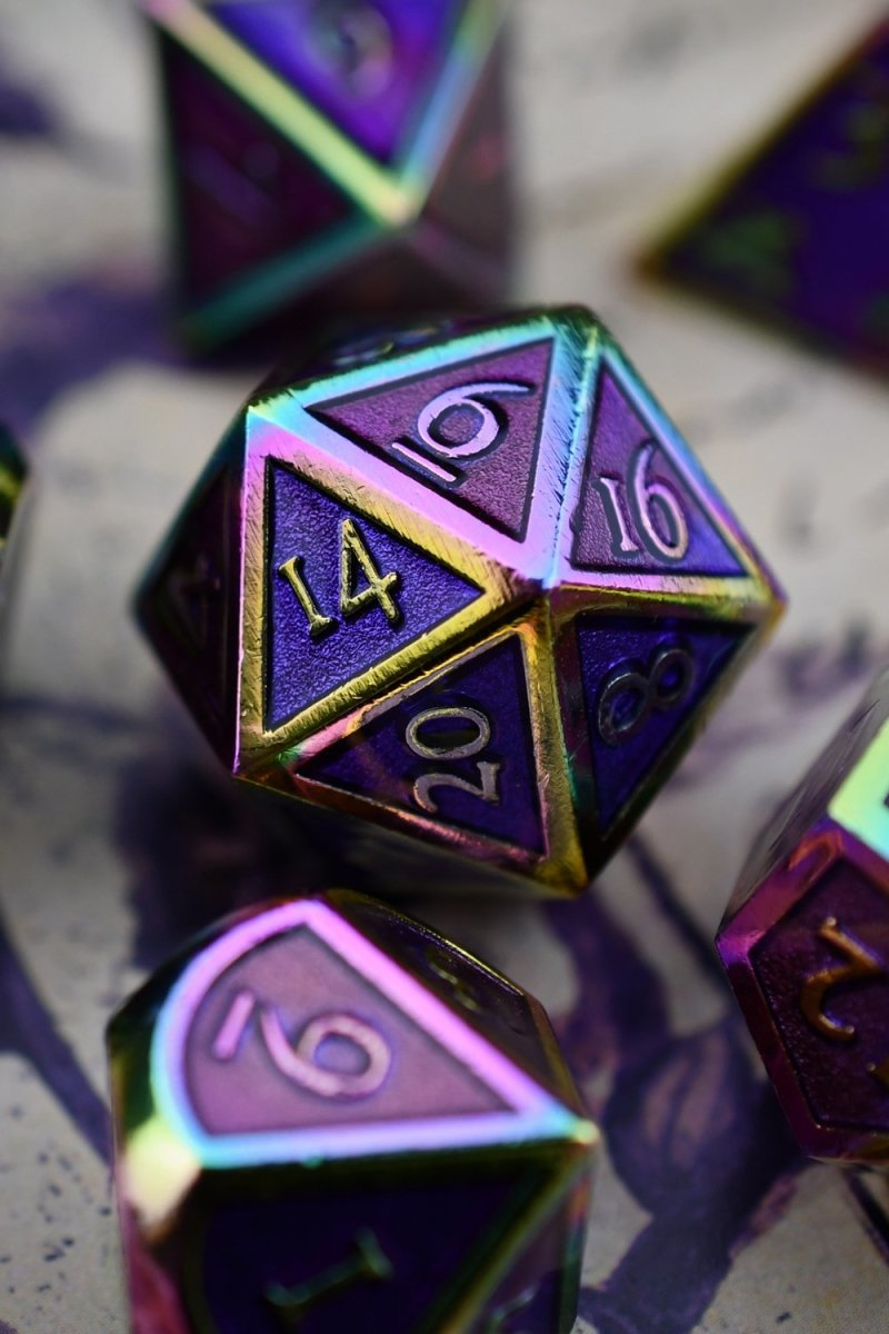 Purple Prismatic Rainbow Metal Dice Set - GAMETEEUK
