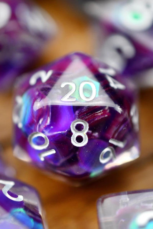 Purple Rain - Holographic Acrylic Dice Set - GAMETEEUK