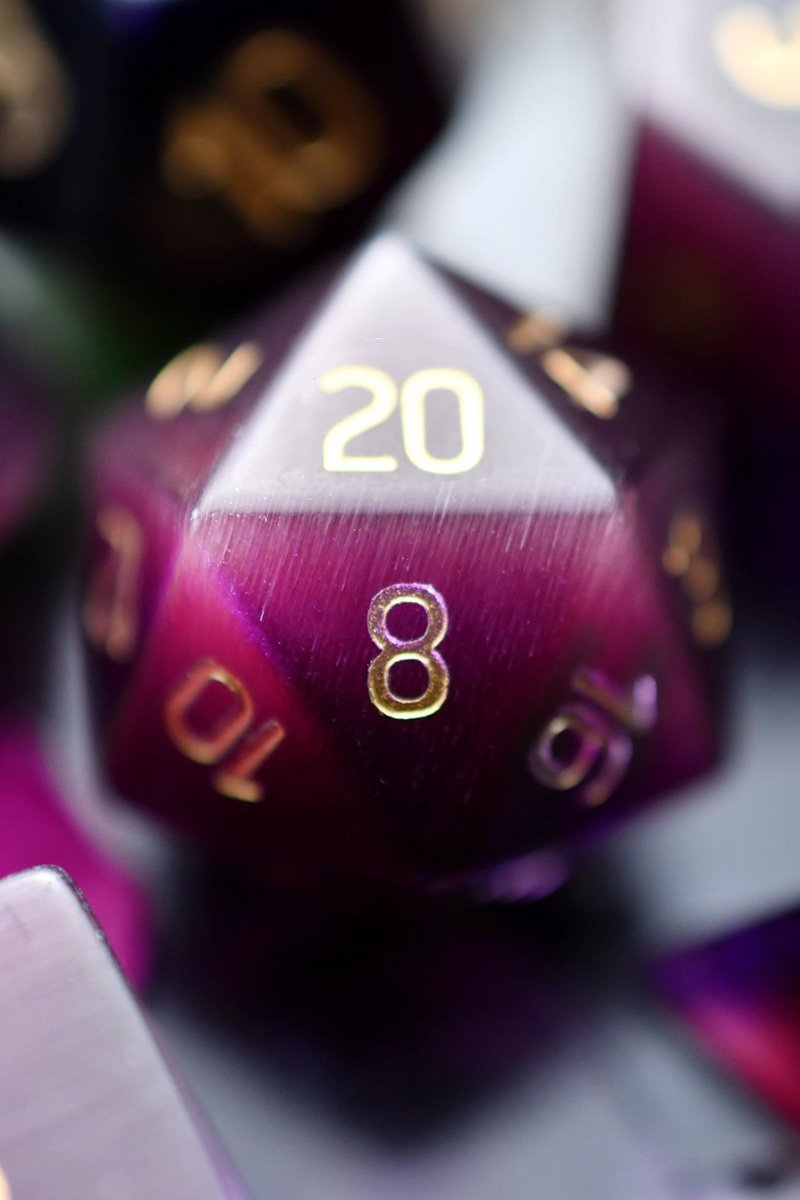 Purple Twilight Cat's Eye - Gemstone Dice Set - GAMETEEUK
