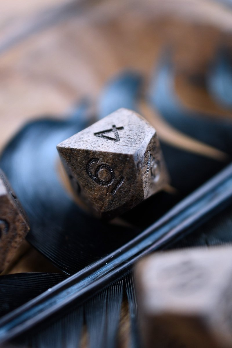 Rare Ebony Wooden Dice Set - GAMETEEUK