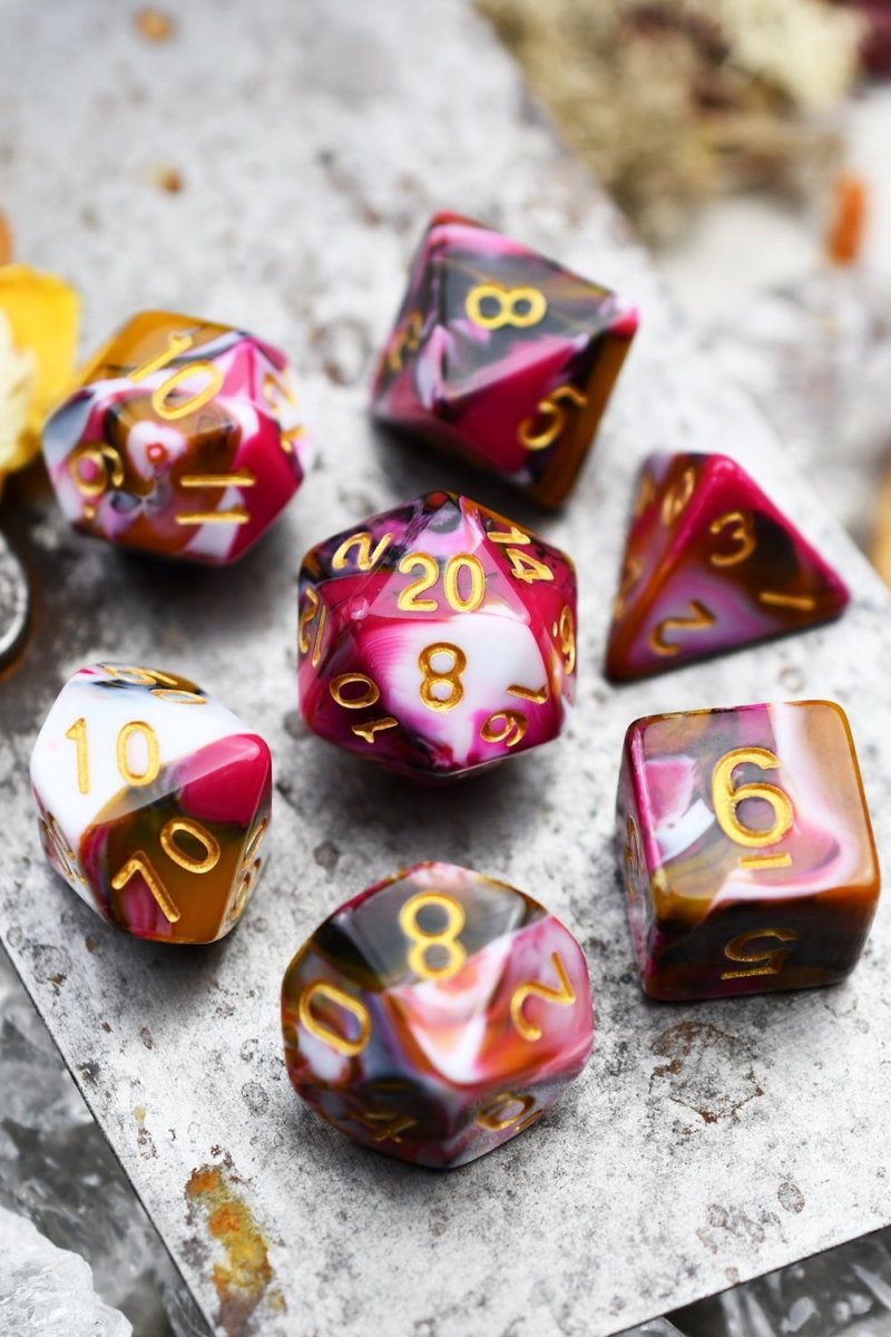 Raspberry Ripple - Harlequin Acrylic Dice Set - GAMETEEUK