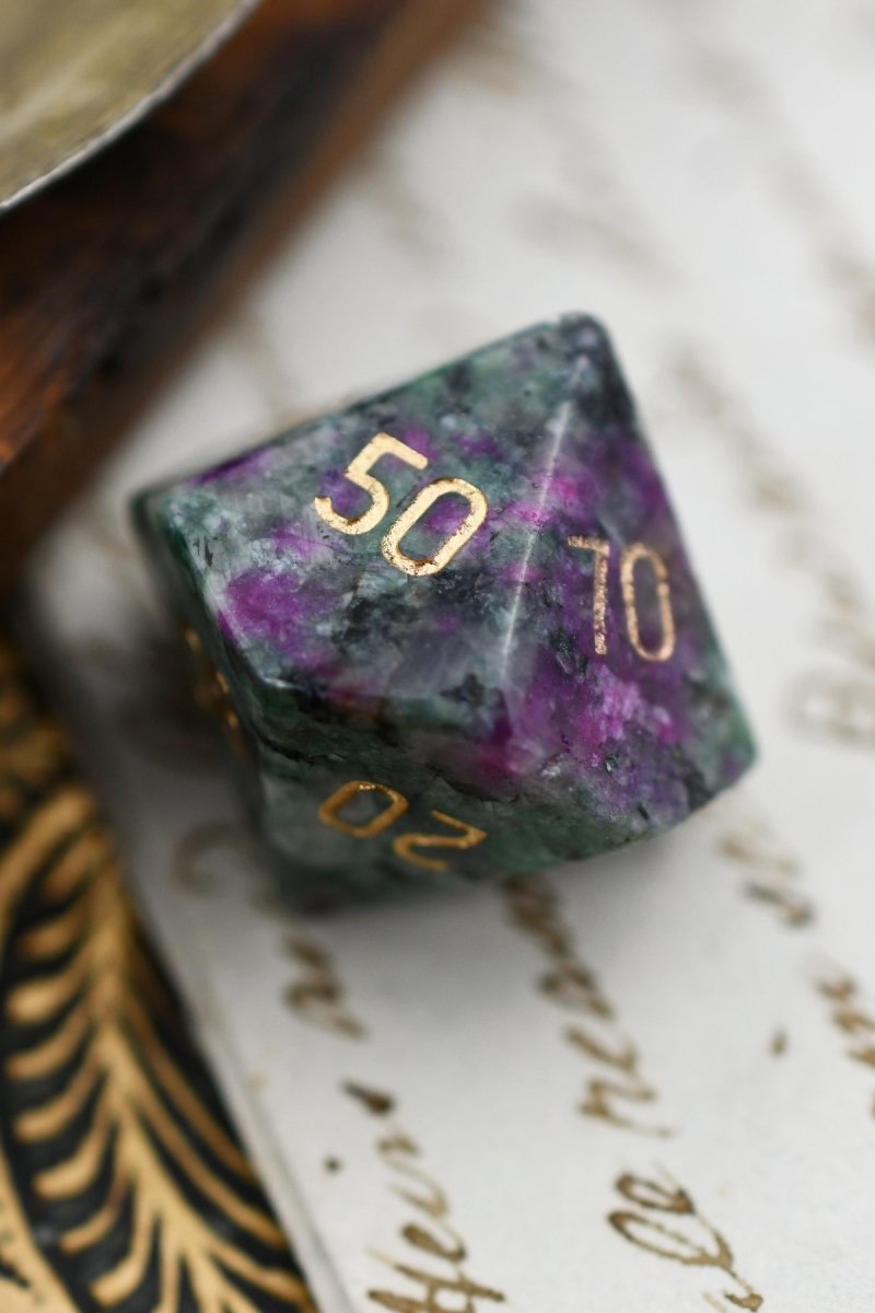 Red Ruby in Ziosite Gemstone Dice Set - GAMETEEUK