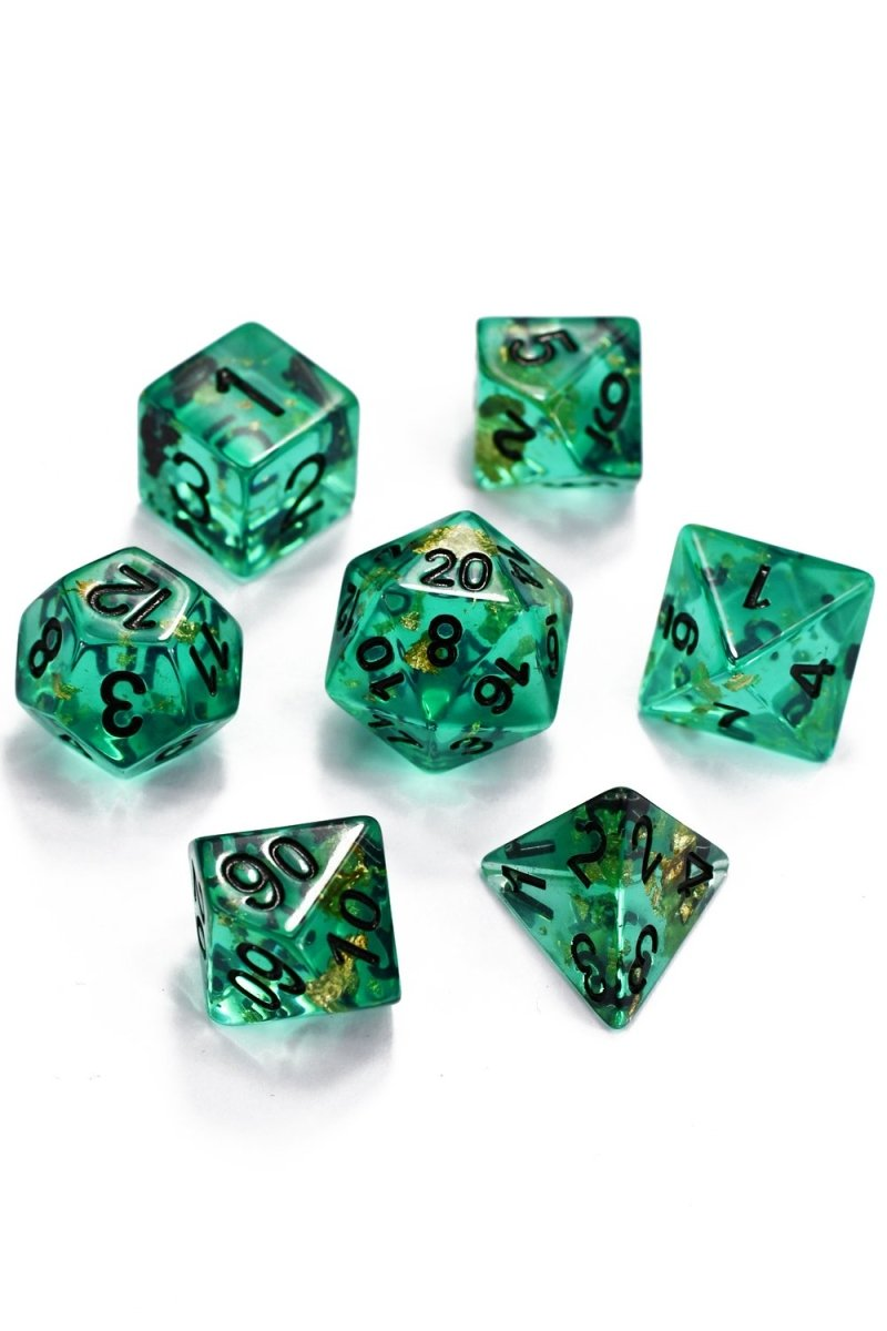 River 24k Gold Flake - Acrylic Dice Set - GAMETEEUK