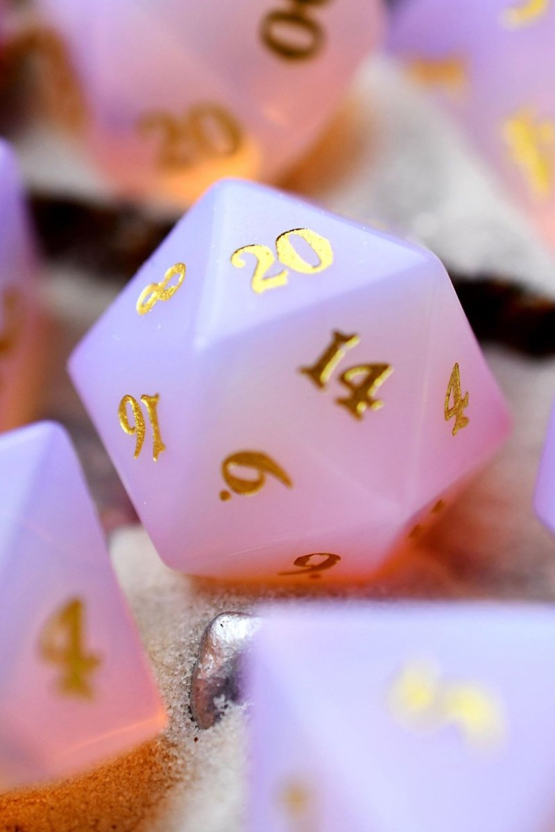 Rose Opalite Gemstone Dice Set - GAMETEEUK