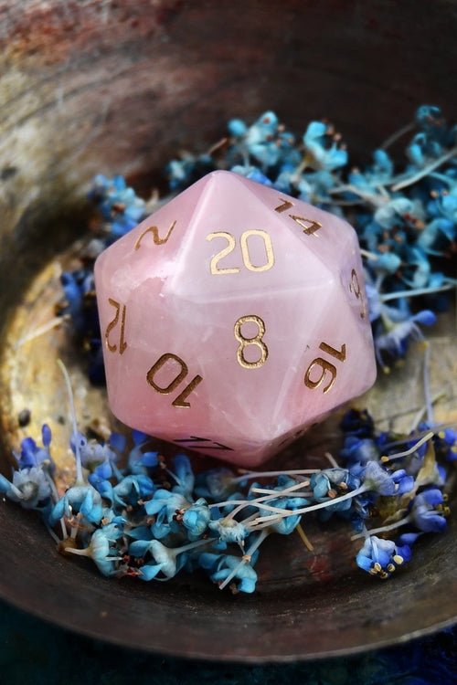 Rose Quartz Gemstone Dice Set - GAMETEEUK