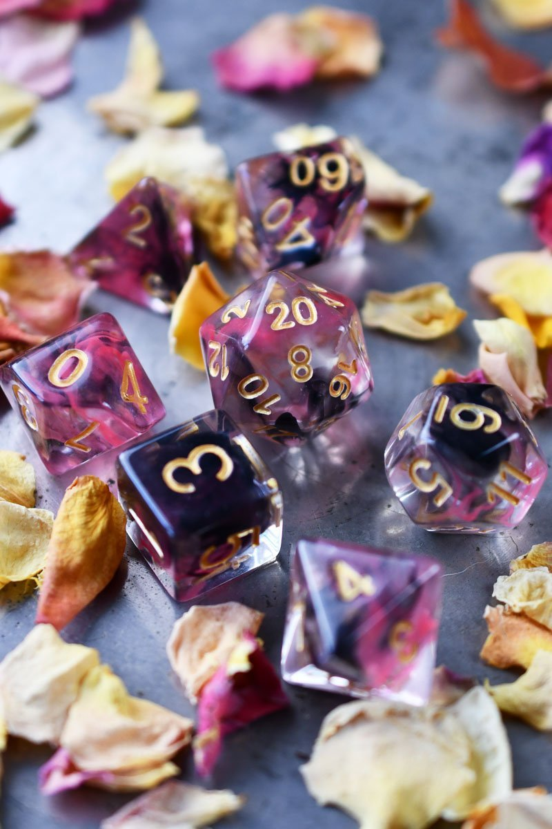 Rosethorn - Smoke-Silk Acrylic Dice Set - GAMETEEUK