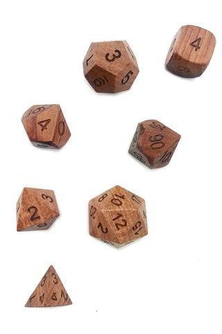 English Oak Wooden Dice Set