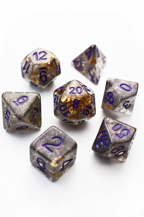 Royal Decree 24k Gold Flake - Acrylic Dice Set - GAMETEEUK