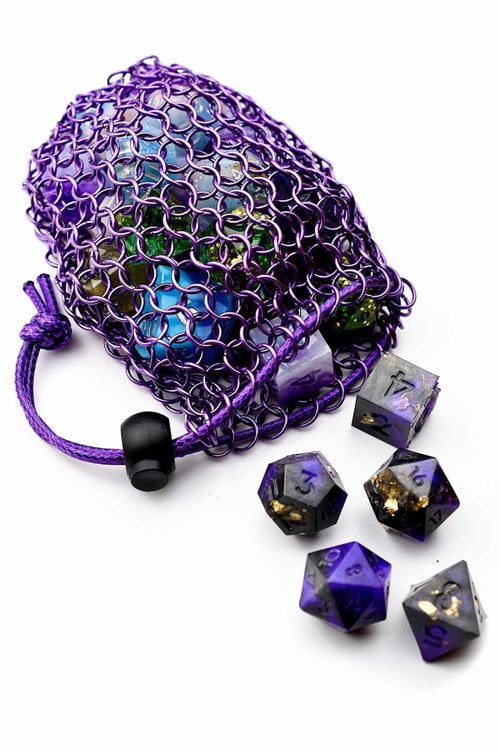 Royal Purple Stainless Steel Chainmail Dice Bag - GAMETEEUK