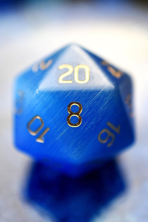 Sapphire Blue Cat's Eye - Gemstone Dice Set - GAMETEEUK