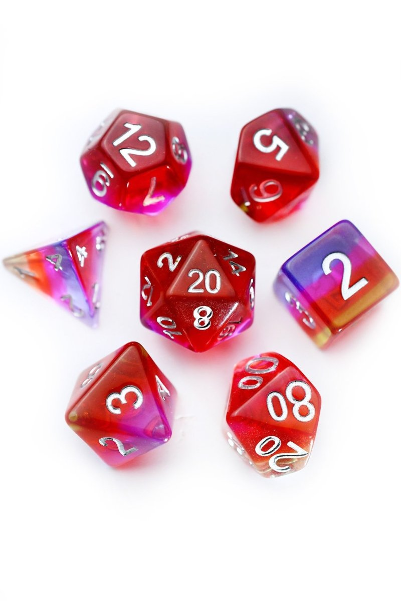 Scarlet Pimpernel - Layered Acrylic Dice Set - GAMETEEUK