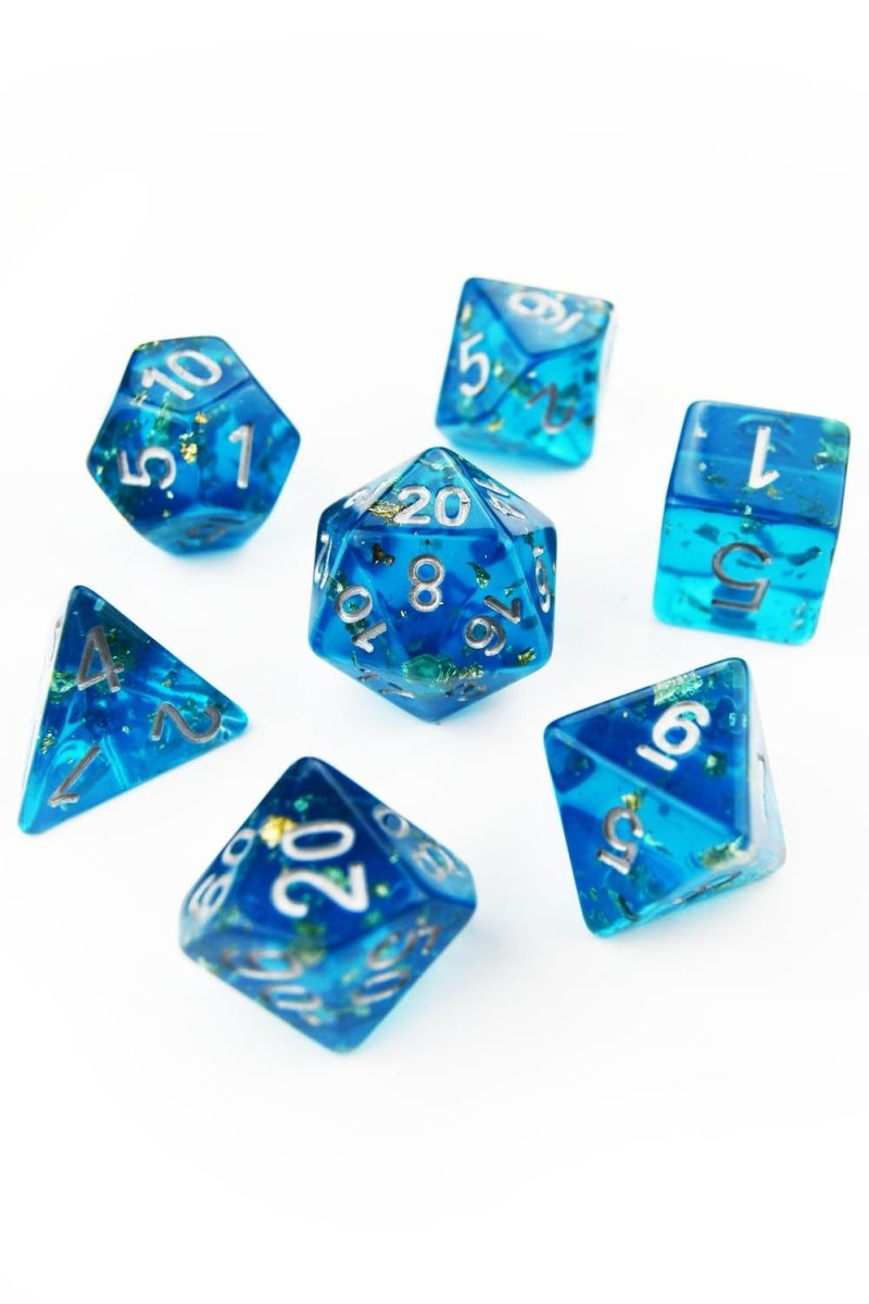 Shipwreck 24k Gold Flake - Acrylic Dice Set - GAMETEEUK