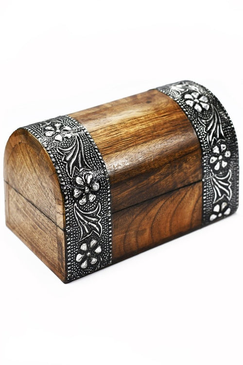 Silver Treasure Chest - Handmade Dice and Accessory Box - GAMETEEUK